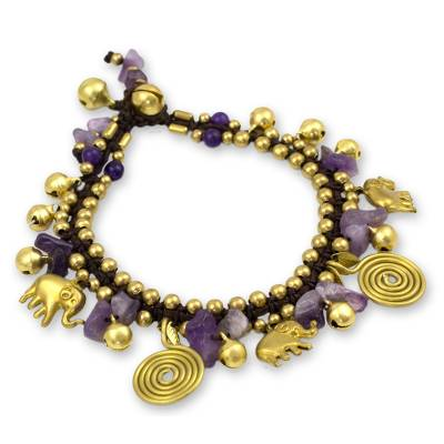Amethyst charm bracelet, 'Splendor of Siam' - Hand Crafted Brass and Amethyst Elephant Charm Bracelet