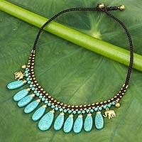 Beaded waterfall necklace, 'Siam Legacy' - Turquoise-Colored Calcite and Brass Necklace from Thailand