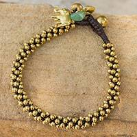Brass beaded bracelet, 'Northern Chic' - Thai Brass Charm Bracelet
