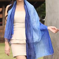 Silk pintuck scarf, 'Royal Blue Transition'
