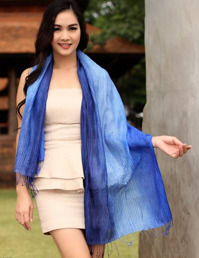Silk pintuck scarf, 'Royal Blue Transition' - Silk Scarf in Blue Ombre