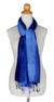 Silk pintuck scarf, 'Royal Blue Transition' - Silk Scarf in Blue Ombre (image 2b) thumbail