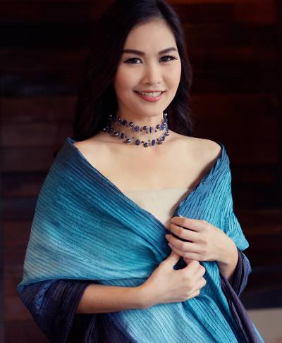 Pin tuck shawl, 'Turquoise Teal Transition' - Ombre Pin Tuck Shawl from Thailand