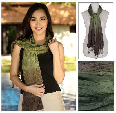 Pin tuck scarf, 'Olive Transition' - Pin tuck scarf