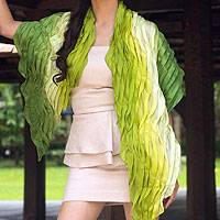 Silk scarf, 'Evolving Green' - Ombre Silk Scarf in Yellow and Green