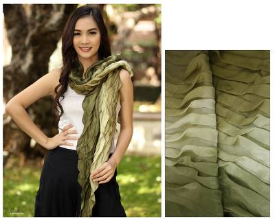 Silk scarf, 'Evolving Olive' - Handcrafted Scarf from Thailand