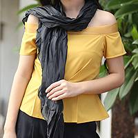 Pleated scarf, 'Evolving Black' - Pleated scarf