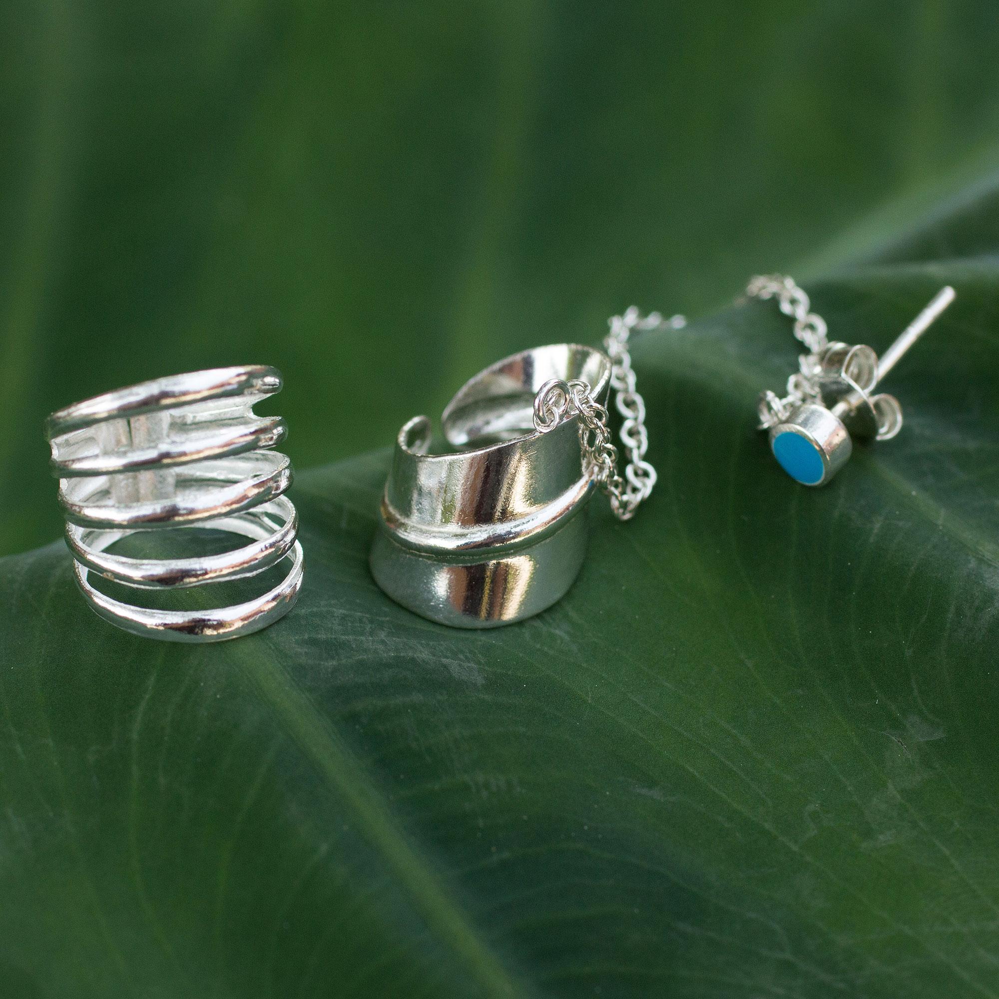 Sterling Silver Ear Cuff Earrings Pair Sea Whisper