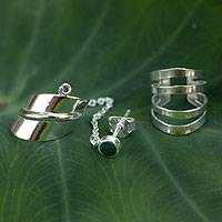Malachite ear cuff earrings, 'Forest Whisper' (pair) - Modern Sterling Silver Malachite Ear Cuff Earrings (Pair)