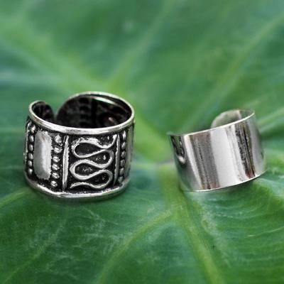 Sterling silver ear cuff earrings, 'Two Epochs' (pair) - Sterling silver ear cuff earrings (Pair)