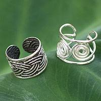 Sterling silver ear cuff earrings, 'Contrasts' (pair) - Two Silver Geometric Ear Cuffs
