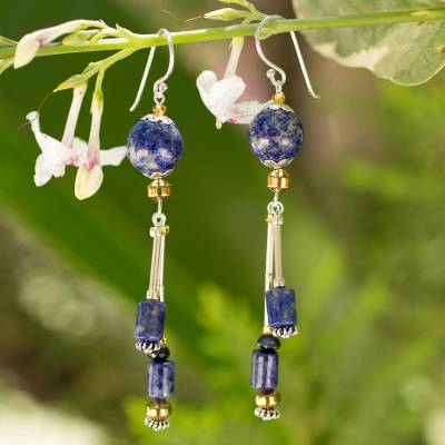 Lapis lazuli dangle earrings, 'Enchanted Sea' - Lapis lazuli dangle earrings