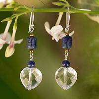 Lapis lazuli and quartz dangle earrings, 'Crystal Heart' - Lapis lazuli and quartz dangle earrings
