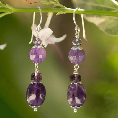 Amethyst dangle earrings, 'Beauteous Iris' - Handmade Beaded Amethyst Earrings
