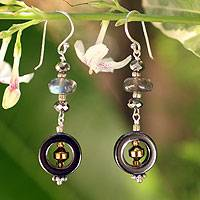 Hematite and labradorite dangle earrings, 'Midnight Mysteries' - Hand Made Hematite and Labradorite Earrings