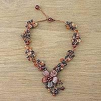 Jasper and carnelian flower necklace, 'Dazzling Bloom' - Jasper and carnelian flower necklace