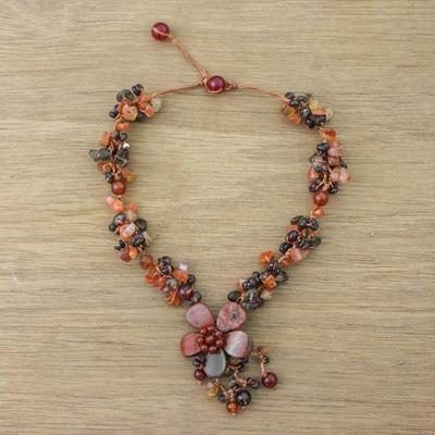 Jasper and carnelian flower necklace, 'Dazzling Bloom' - Jasper and carnelian flower necklace