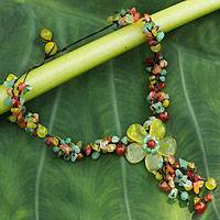 Serpentine and carnelian flower necklace, 'Dazzling Bloom' - Handcrafted Bohemian Floral Serpentine Necklace