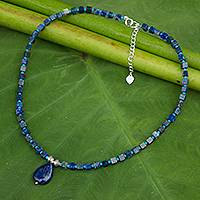 Lapis lazuli pendant necklace, 'Depths of Blue' - Beaded Dazzling Blue Pendant Necklace