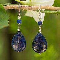 Lapis lazuli dangle earrings, 'Blue Lily' - Fair Trade Sterling and Lapis Lazuli Dangle Earrings