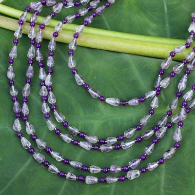Amethyst strand necklace, 'Romantic Lavender' - Amethyst strand necklace
