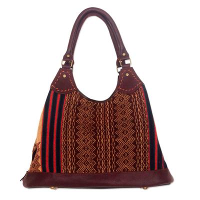 Novica Leather accent embroidered shoulder bag, Mandarin Peonies