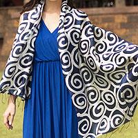 Silk scarf, 'Blue Thai Maze'
