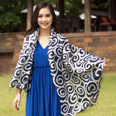 Silk scarf, 'Blue Thai Maze' - Silk scarf