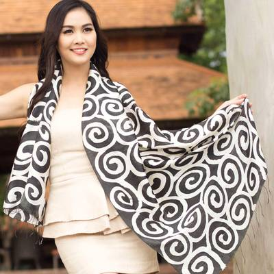 Silk scarf, 'Black Thai Maze' - Silk scarf