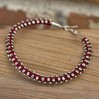 Silver flower bracelet, 'Fire Blooms' - Silver flower bracelet