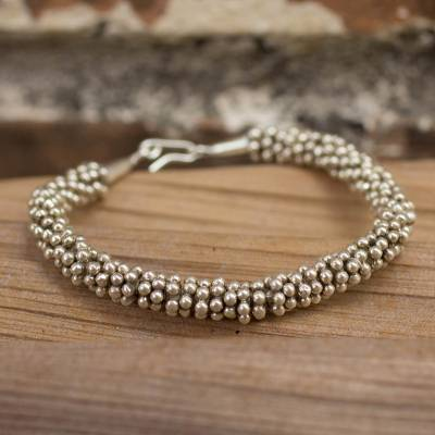 Silver beaded bracelet, 'River of Dreams' - Hill Tribe Fine Silver Beaded Bracelet