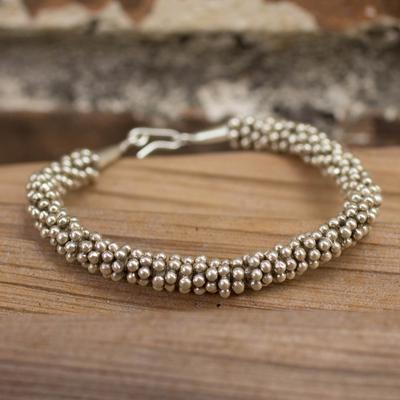 Silver beaded bracelet, 'River of Dreams' - Hill Tribe Fine Silver Beaded Bracelet