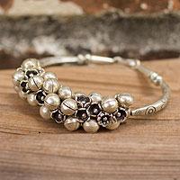 Silver bracelet, 'Karen Melody' - Handcrafted Hill Tribe Fine Silver Beaded Bracelet