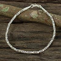 Silver flower bracelet, 'Sumptuous Simplicity' - Silver flower bracelet