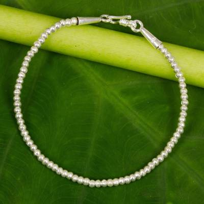 Silver beaded bracelet, 'Moonbeam' - Hill Tribe Fine Silver Beaded Bracelet