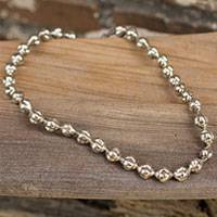 Silver beaded necklace, 'Karen Lights' - Silver beaded necklace