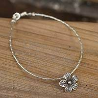 Silver flower bracelet, 'Karen Bloom'