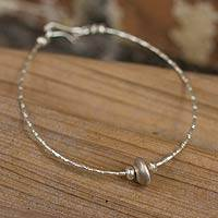 Silver beaded bracelet, 'Uniquely Karen' - Silver beaded bracelet