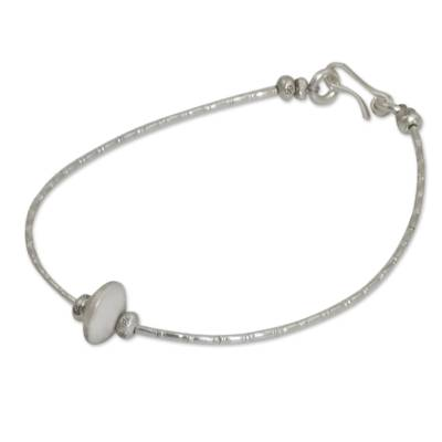 Silver beaded bracelet, 'Uniquely Karen' - Silver beaded bracelet