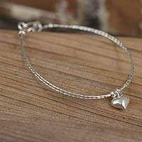 Silver heart bracelet, 'Karen Heart'