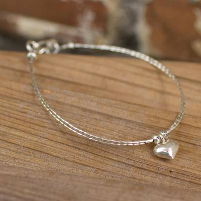 Silver heart bracelet, 'Karen Heart' - Thai Heart Shaped Fine Silver Charm Bracelet