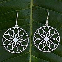 Silver flower earrings, 'Lotus Circles' - Silver flower earrings