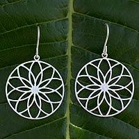 Silver flower earrings, 'Lotus Circles' - Silver flower earrings