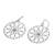 Silver flower earrings, 'Lotus Circles' - Silver flower earrings (image 2b) thumbail