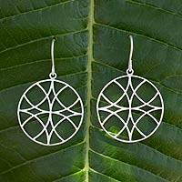 Silver dangle earrings, 'Snowflake Circle' - Silver dangle earrings