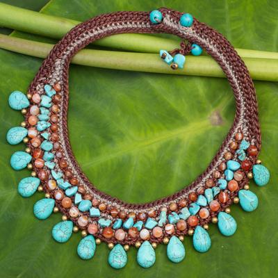 Carnelian choker, 'Dawn Seas' - Carnelian Crocheted Choker