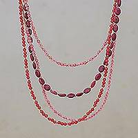 Beaded necklace, 'Summer Roses'