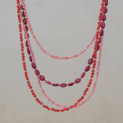 Beaded necklace, 'Summer Roses' - Beaded necklace