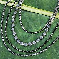 Labradorite and quartz beaded necklace, 'Midnight Serenade' - Labradorite beaded necklace