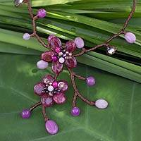 Garnet flower necklace, 'Burgundy Bouquet' - Garnet flower necklace